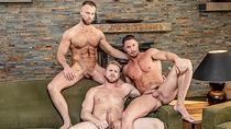 Hunk gays Skyy Knox and Zayne Roman anal 3way with Logan Stevens