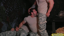 hunk gaymen in uniform are having threesome gay sex