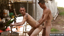 Latin gay outdoor with cumshot