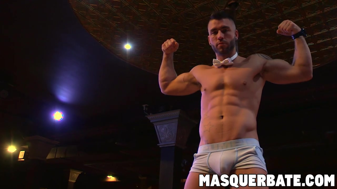 Solo masturbation and pole striptease with tattooed jock