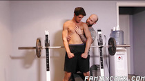 Hairy dad drills his jock stepson after lifting weights