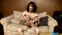 Shaggy straight dude shows his twink ways while wanking