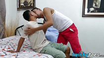 Deviant Asian twinks kiss each others feet and bare fuck