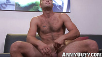 Tall hunky soldier jerks long cock off with strong hands
