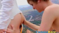 Outdoorsy gay Benjamin Riley cums hard while riding raw cock