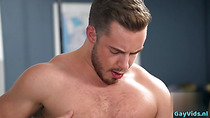 Muscle gay rimjob with eating cum