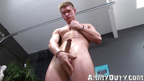 Solo masturbation with a blond army dude Jayden Lawrence