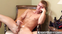 Gorgeous athletic blond soldier tugs his long hard cock