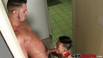 Latino jock treats young bottom with dick and facial