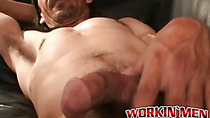 Older dude takes out his thick throbbing cock for a jerkoff