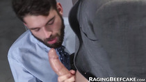 Handsome bearded gay anally fucked by his muscular boss