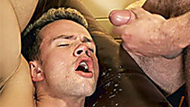 Blonde twink gets his face covered with daddys sperm