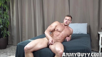 Tall and huge muscular soldier solo masturbates for his fans