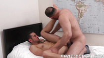 Inked stepson is more than glad to take daddy deep inside