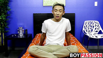 Asian twink strips naked and masturbates after an interview