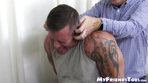 Masculine hunk strapped down for hard tickling session
