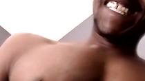 Black amateur with a huge cock masturbates and jizzes