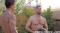 Handsome stepfather makes twink join threeway rawpounding